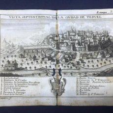 Arte: VISTA DE LA CIUDAD DE TERUEL. GRABADO POR PALOMINO. 1779. ORIGINAL.. Lote 40358172