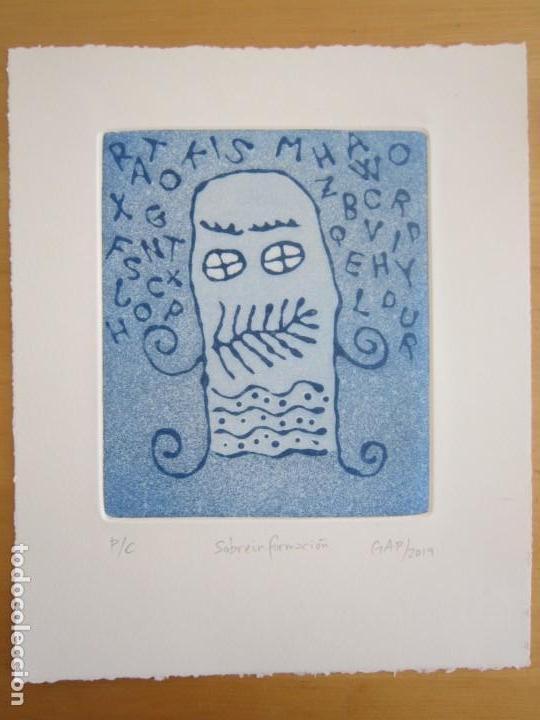 Arte: Sobreinformación - Aguatinta al azúcar de GAP (Guillermo Antón Pardo) - 20x24 cm - Foto 3 - 161928810