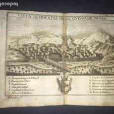 Arte: VISTA OCCIDENTAL DE LA CIUDAD DE FRAGA. GRABADO POR PALOMINO. 1779. ORIGINAL.. Lote 40366638