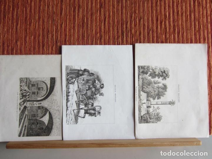 1835- 3 GRABADOS ORIGINALES. RUSIA. MONUMENTO A PULTAWA.INCENDIO EN EL KREMLIN.CAMPESINOS RUSOS (Arte - Grabados - Modernos siglo XIX)