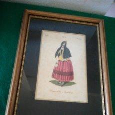 Arte: BONITO GRABADO ILUMINADO ENMARCADO. Lote 163648681