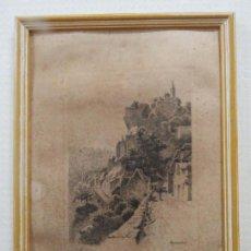 Arte: BONITO GRABADO EN PLANCHA DE ALIX DESBOIS (1873-1939) FIRMADO, VISTAS DE ROCAMADOUR, CIRCA 1920. Lote 163702526