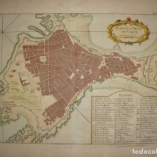 Arte: MAPA GRABADO DE CÁDIZ. 1764. NICOLAS BELLIN. PLAN DE LA VILLE DE CADIX.. Lote 163725022