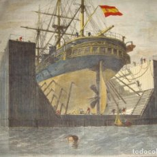 Arte: ANTIGUO GRABADO. S.XIX. FLOATING PONTOON OR DUCK CONSTRUCTED BY MESSES. BENNIE AND SON FOR THE.... Lote 163728334
