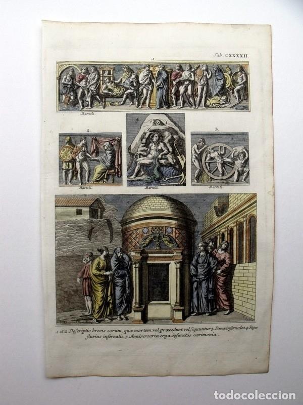 Arte: Diferentes costumbres romanas, 1757. Montfaucon - Foto 2 - 163939736