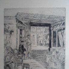 Arte: JOSÉ GUTIÉRREZ SOLANA (1886-1945) AGUAFUERTE 1963: EL RASTRO 27X23 CMS PAPEL 50X65CMS, FIRMA PLANCHA. Lote 50501180
