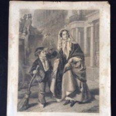 Arte: GRABADO AL ACERO S XIX - THE CROSSING SWEEPER - POR C. W. SHARPE. Lote 164842430