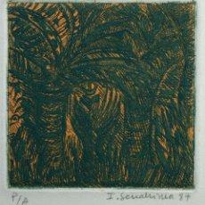 Arte: ISABEL SERRAHIMA GRABADO AL AGUAFUERTE PALMERAS FIRMADO Y FECHADO 1987. Lote 165534690