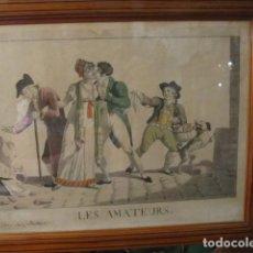 Arte: ANTIGUO GRABADO DEL SIGLO XIX - LOS AFICIONADOS - LES AMATEURS - ENMARCADO CON CRISTAL. Lote 165604238