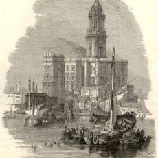 Arte: 1864 - ORIGINAL - CATEDRAL PUERTO MALAGA - EXTRAIDO DEUTSCHE ILLUSFRIRTE - GRABADO: 11 X 9 CM. Lote 165811910