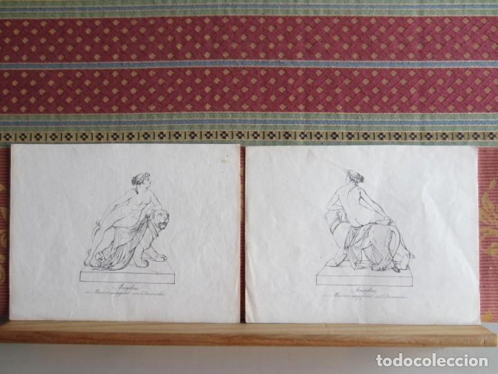 1842-ARIADNA.MITOLOGÍA GRIEGA.HIJA DE MINOS REY DE CRETA. 2 GRABADOS ORIGINALES POR DANNECKER (Arte - Grabados - Modernos siglo XIX)