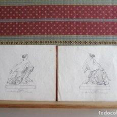 Arte: 1842-ARIADNA.MITOLOGÍA GRIEGA.HIJA DE MINOS REY DE CRETA. 2 GRABADOS ORIGINALES POR DANNECKER. Lote 191267068
