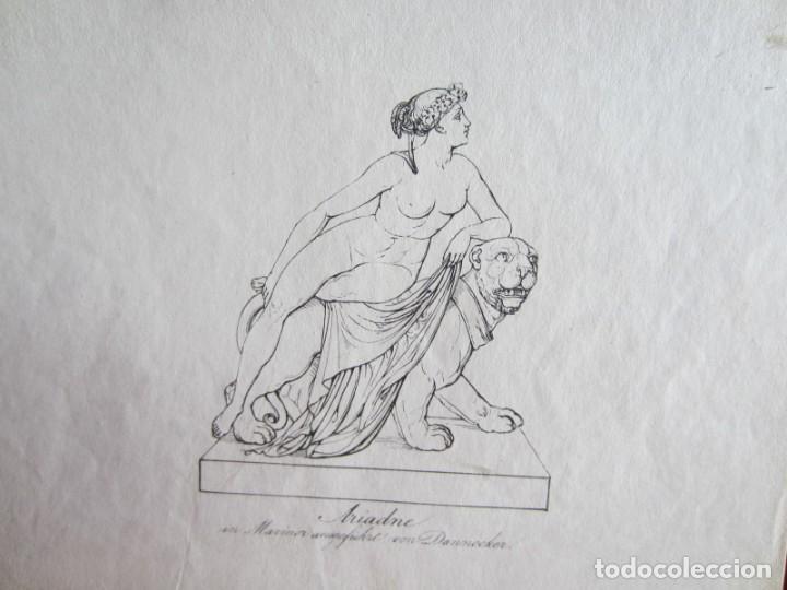 Arte: 1842-ARIADNA.MITOLOGÍA GRIEGA.HIJA DE MINOS REY DE CRETA. 2 GRABADOS ORIGINALES POR DANNECKER - Foto 2 - 191267068