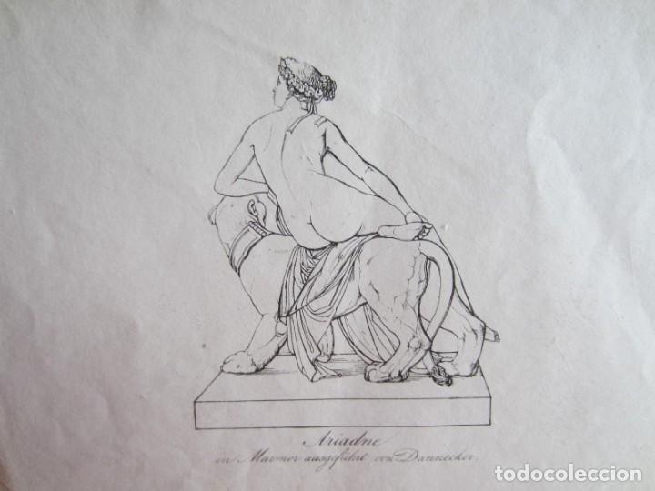 Arte: 1842-ARIADNA.MITOLOGÍA GRIEGA.HIJA DE MINOS REY DE CRETA. 2 GRABADOS ORIGINALES POR DANNECKER - Foto 3 - 191267068