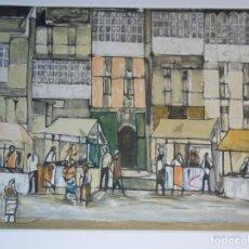 Arte: AGUSTÍN REDONDELA (MADRID 1922-2015) GRABADO MERCADO DE VIVEIRO LUGO DE 2006 DE 42X35CMS PAPEL 63X55. Lote 166648657