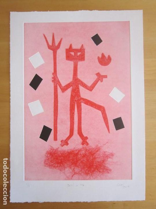 Arte: Devil in Me - Monotipo sobre papel de GAP (Guillermo Antón Pardo) - 25 x 35 cm - Foto 3 - 166657670