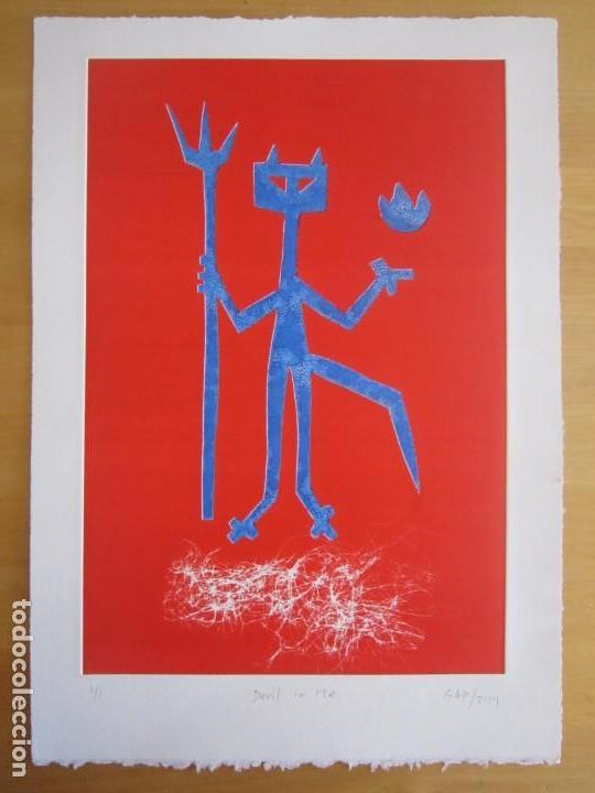 Arte: Devil in Me - Monotipo sobre papel de GAP (Guillermo Antón Pardo) - 25 x 35 cm - Foto 3 - 166657850