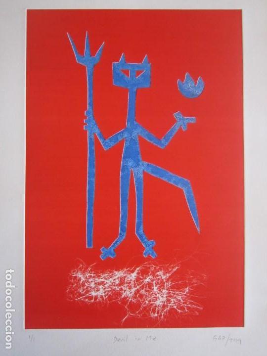 DEVIL IN ME - MONOTIPO SOBRE PAPEL DE GAP (GUILLERMO ANTÓN PARDO) - 25 X 35 CM (Arte - Grabados - Contemporáneos siglo XX)