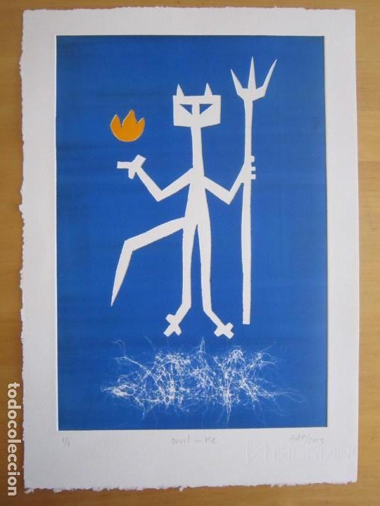 Arte: Devil in Me - Monotipo sobre papel de GAP (Guillermo Antón Pardo) - 25 x 35 cm - Foto 3 - 166657966