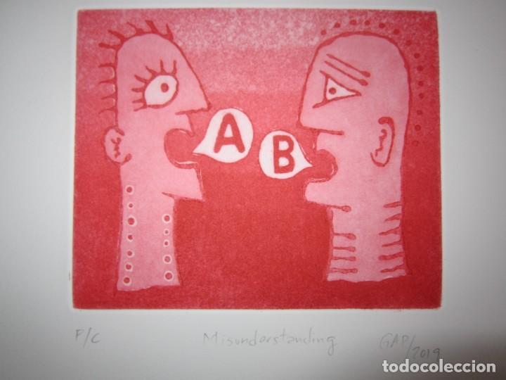 Arte: Malentendido - Grabado al aguatinta de GAP (Guillermo Antón Pardo) - 25 x 35 cm - Foto 4 - 166658714