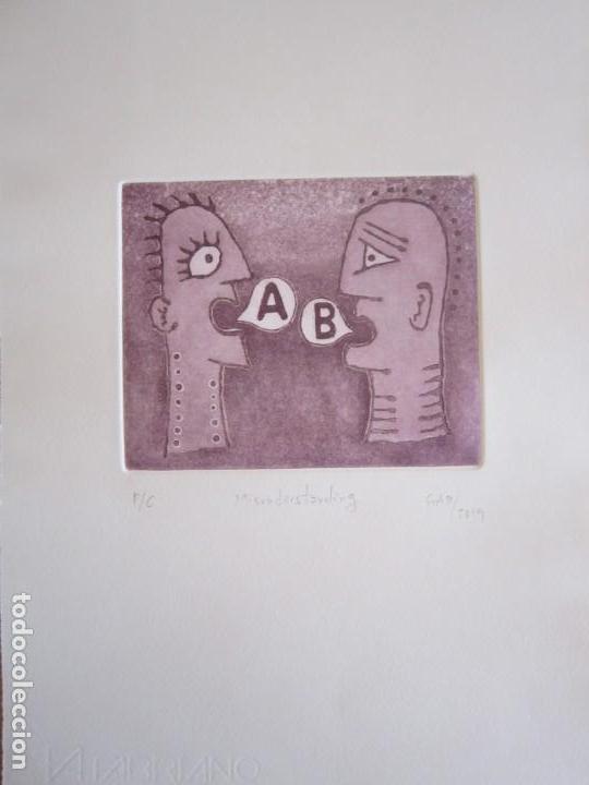 Arte: Malentendido - Grabado al aguatinta de GAP (Guillermo Antón Pardo) - 25 x 35 cm - Foto 4 - 166659530
