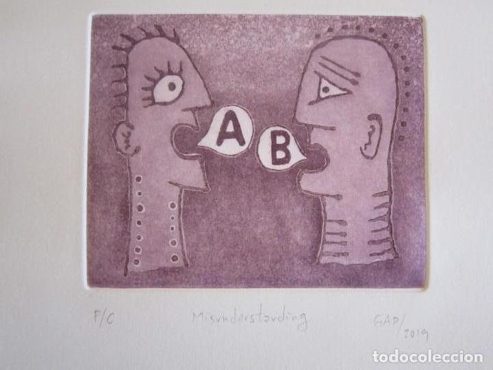 MALENTENDIDO - GRABADO AL AGUATINTA DE GAP (GUILLERMO ANTÓN PARDO) - 25 X 35 CM (Arte - Grabados - Contemporáneos siglo XX)