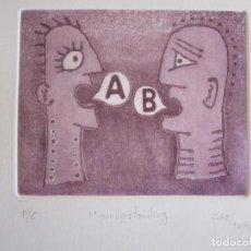 Arte: MALENTENDIDO - GRABADO AL AGUATINTA DE GAP (GUILLERMO ANTÓN PARDO) - 25 X 35 CM. Lote 166659530
