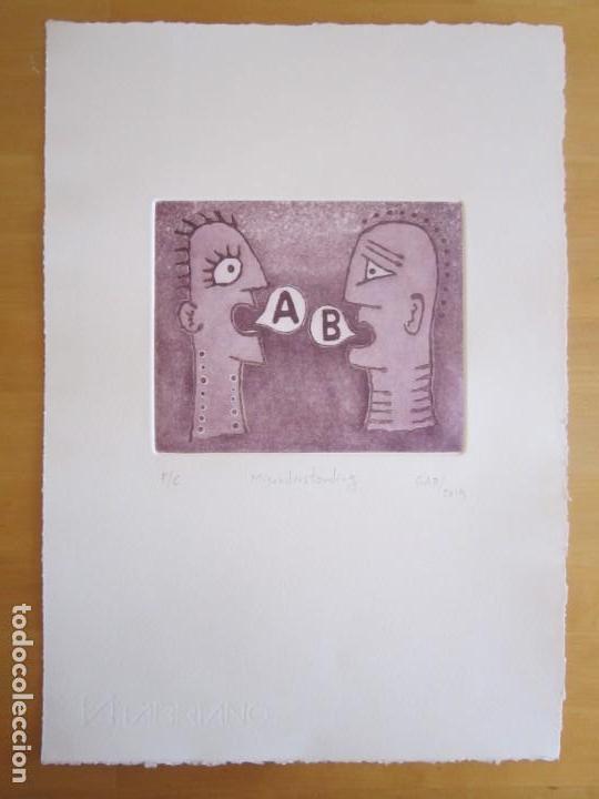Arte: Malentendido - Grabado al aguatinta de GAP (Guillermo Antón Pardo) - 25 x 35 cm - Foto 2 - 166659530