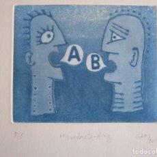 Arte: MALENTENDIDO - GRABADO AL AGUATINTA DE GAP (GUILLERMO ANTÓN PARDO) - 25 X 35 CM. Lote 166659622