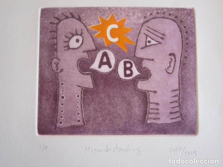 MALENTENDIDO - GRABADO AL AGUATINTA Y MONOTIPO DE GAP (GUILLERMO ANTÓN PARDO) - 25 X 35 CM (Arte - Grabados - Contemporáneos siglo XX)