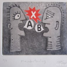 Arte: MALENTENDIDO X - GRABADO AL AGUATINTA Y MONOTIPO DE GAP (GUILLERMO ANTÓN PARDO) - 25 X 35 CM. Lote 166660042