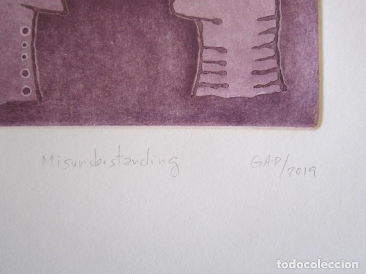 Arte: Malentendido - Grabado al aguatinta y monotipo de GAP (Guillermo Antón Pardo) - 25 x 35 cm - Foto 2 - 166659974
