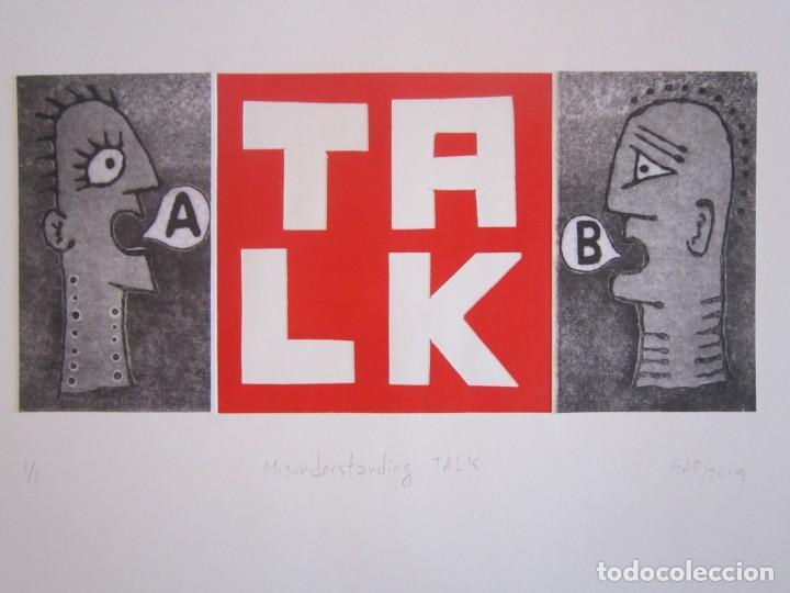 MALENTENDIDO TALK - COLLAGE CON AGUATINTA Y MONOTIPO DE GAP (GUILLERMO ANTÓN PARDO) - 35 X 25 CM (Arte - Grabados - Contemporáneos siglo XX)