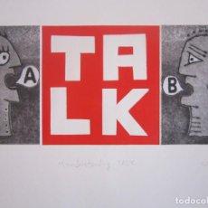 Arte: MALENTENDIDO TALK - COLLAGE CON AGUATINTA Y MONOTIPO DE GAP (GUILLERMO ANTÓN PARDO) - 35 X 25 CM. Lote 166661266