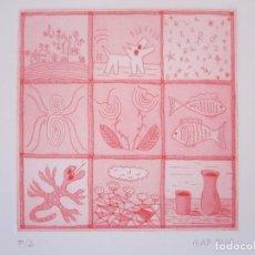 Arte: VIÑETAS - GRABADO AL AGUATINTA DE GAP (GUILLERMO ANTÓN PARDO) - 20X24 CM. Lote 166662274