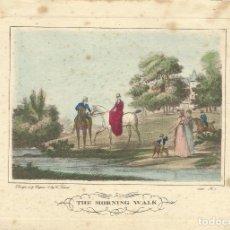 Arte: CARLE VERNET. GRABADO COLOREADO A MANO THE MORNING WALK. 1822. Nº 1. BUEN ESTADO CON SIGNOS EDAD.. Lote 145354310