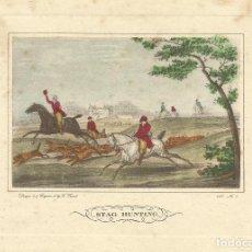 Arte: CARLE VERNET GRABADO COLOREADO A MANO STAG HUNTING. 1822. Nº 5. BUEN ESTADO CON SIGNOS DE LA EDAD. . Lote 167504496