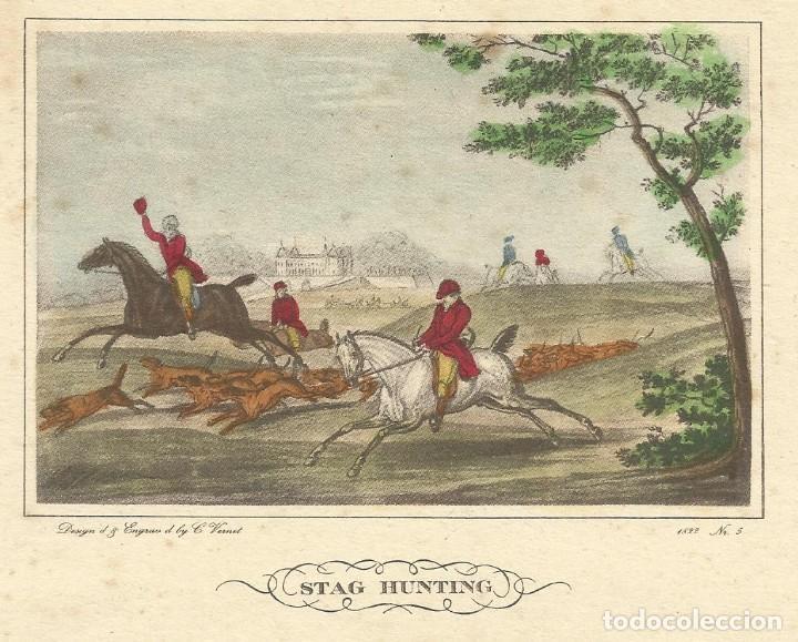 Arte: CARLE VERNET GRABADO COLOREADO A MANO STAG HUNTING. 1822. Nº 5. BUEN ESTADO CON SIGNOS DE LA EDAD. - Foto 2 - 167504496