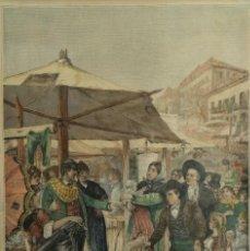Arte: GRABADO COLOREADO H.MENDEZ BRINGA EN EL RASTRO SIGLO XIX. Lote 167984272
