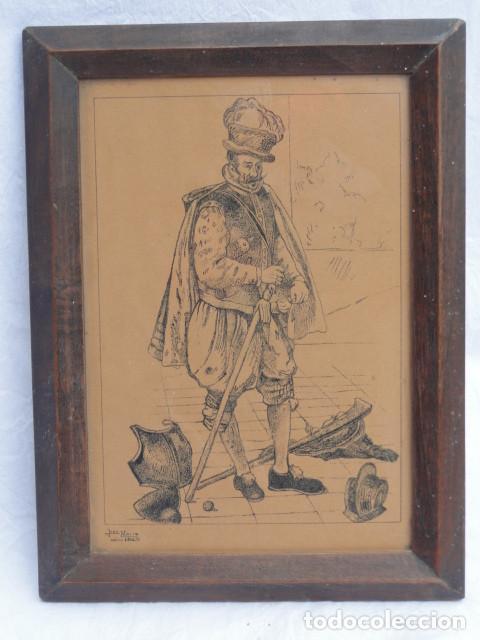 BONITO GRABADO DIBUJO ENMARCADO CON FIRMA. AÑO 1948. (Arte - Grabados - Contemporáneos siglo XX)