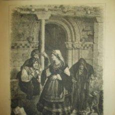 Arte: AÑO 1873. GRABADO ASTURIAS. TIPOS Y COSTUMBRES: LA SALIDA DE MISA. Lote 168455676