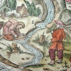 Arte: 2 GRABADOS SOBRE EL LAVADO DEL ORO III, 1557. AGRÍCOLA. Lote 168514960