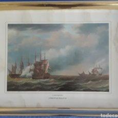 Arte: GRABADO ENMARCADO E.HOOGERHEYDEN COMBATE DE FRAGATAS. Lote 168669898