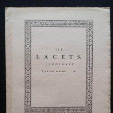 Arte: ENCYCLOPÉDIE DE DIDEROT D´ALEMBERT: LACETS (CORDELEROS) / 4 HOJAS. Lote 168772400