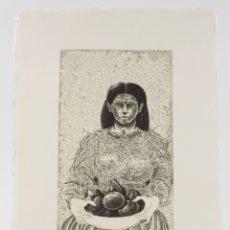 Arte: FRANCESC ARTIGAU, GRABADO, PRUEBA DE ARTISTA, 1996, MUJER CON FRUTA, TIRAJE 1 / 10, FIRMADO. 35X26CM. Lote 168798384