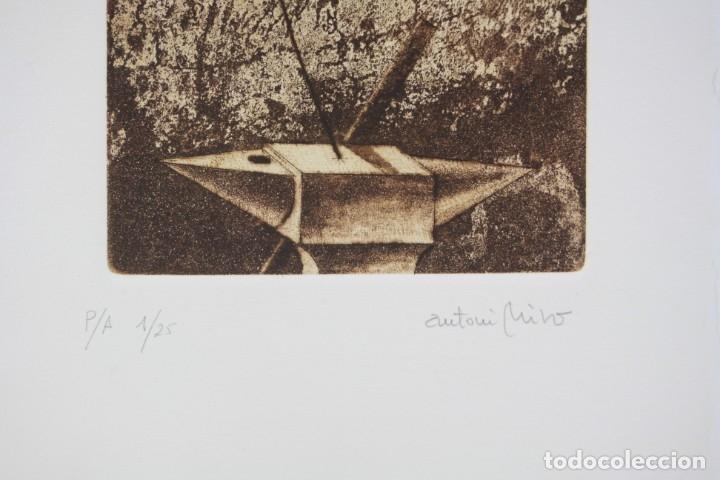 Arte: Antoni Miró, grabado, prueba de artista, tiraje 1 / 25, firmado. 35x26cm - Foto 3 - 168799580