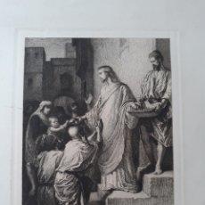 Arte: JESÚS. JESUCRISTO REPARTE LOS PANES. GRABADO ORIGINAL PRINCIPIOS S.XX. Lote 168891658