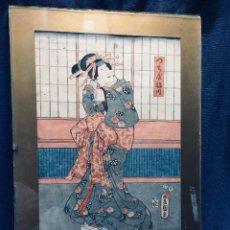 Arte: UTAGAWA KUNIYOSHI KUNISADA UKIYO E WOODCUT XILOGRABADO JAPON GEISHA MUJER S XIX 45X32,5CMS. Lote 169011572