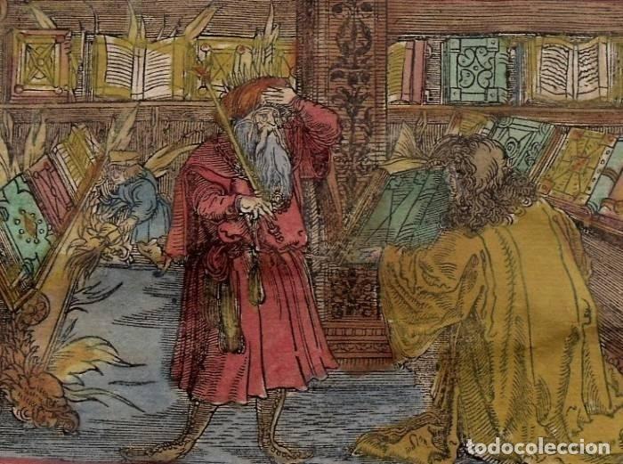 ESCENA ALEGÓRICA: BIBLIOTECA MEDIEVAL ARDIENDO, 1532. HANS WEIDITZ (Arte - Grabados - Antiguos hasta el siglo XVIII)