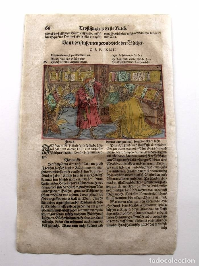Arte: Escena alegórica: Biblioteca medieval ardiendo, 1532. Hans Weiditz - Foto 2 - 169048292